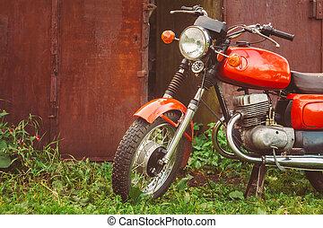 Vintage Red Motorcycle Generic Motorbike In Countryside -...