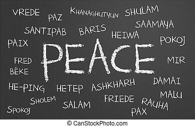 paz, palavra, nuvem,
