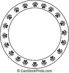 Round bearpaw print border - Round bear Paw border. Circular...