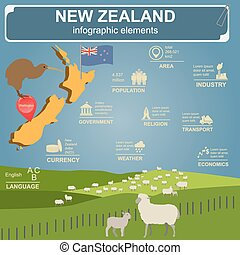 New Zealand infographics, statistical data, sights. Vector...