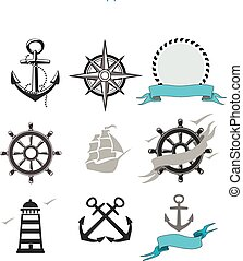 Illustration of set marine icons - Illustration of set...