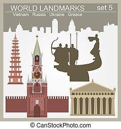 World landmarks icon set. Elements