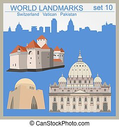 World landmarks icon set. Elements for creating...