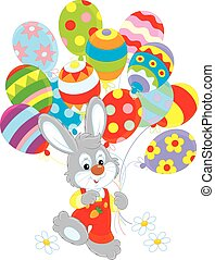 Easter Bunny with balloons - Little rabbit walking with...