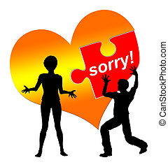 I am sorry - Man is asking for forgiveness while the woman...