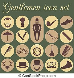 Set of vintage barber icons - Set of vintage barber,...