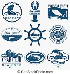 Set of vintage sea food logos. Vector logo templates and...