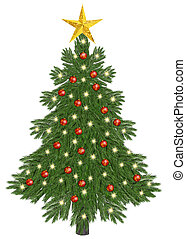 Christmastree decorated on white background
