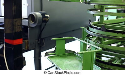 View of footwear production machine, close-up
