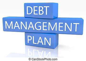 Debt Management Plan - 3d render blue box with text Debt...