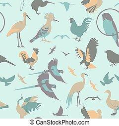 Birds seamless pattern Vector flat style Vector illustration...