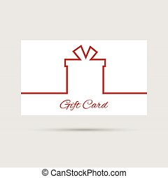 Gift card with ribbon in the form of gift box minimalist...