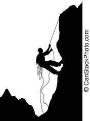 mountain climber - illustration,black silhouette of mountain...