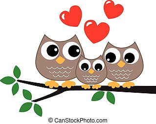 a sweet little owl family love