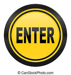 enter icon, yellow logo