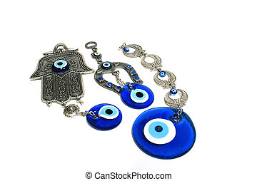 Amulets - Human blue Eye amulet with icon and israel hamsa...