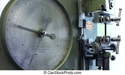 View of pressure indicator at machine