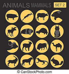 Animals mammals icon set. Vector flat style. Vector...