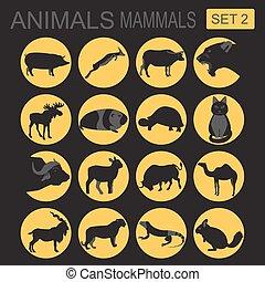 animaux, Mammifères, icône, set., vecteur,