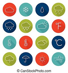 Set weather icons. Flat design with long shadows. Vector....