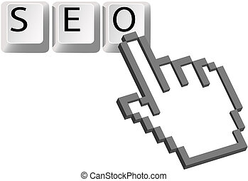 Hand pixel cursor clicks on SEO keys for Search Engine Optimization