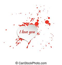 Ink splatter with small drops of red. Grunge vector hand...