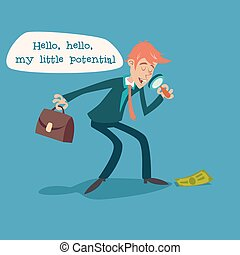 Businessman Character with Magnifying Glass and Briefcase...