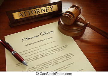 Divorce Decree with gavel and Attorney nameplate...