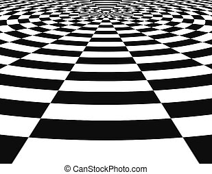 Black and white round shape with perspetive effect abstract...