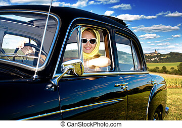 Classic Driver - Girl in the Post-War classic car Mercedes...