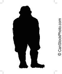 yeti monster - black silhouette of yeti