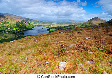 Mountains Landscape in Ireland - View over valley in...