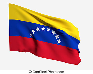 Venezuela flag - 3d rendering of a Venezuela flag on a white...