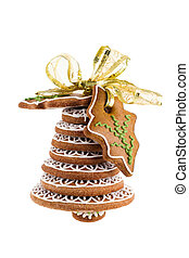 Christmas bell assembled from gingerbread and tied with...