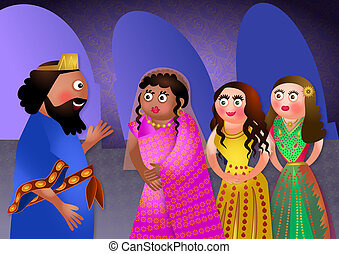 Jewish Feast of Purim - Fun cartoon illustration depicting...
