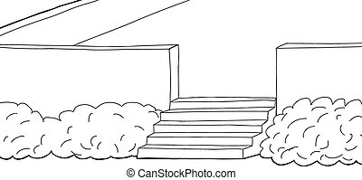 Background Patio - Hand drawn patio with stairs and shrubs...