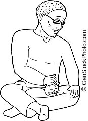Outline of Man Petting Cat - Outline cartoon of handsome man...
