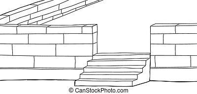 Outline Concrete Block Patio - Outline cartoon of patio with...