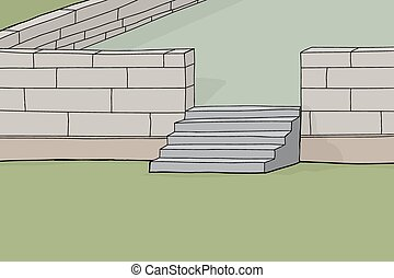 Concrete Block Patio Background - Cartoon background of...