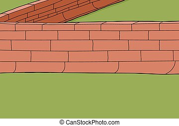 Red Brick Fence - Hand drawn red brick fence border...