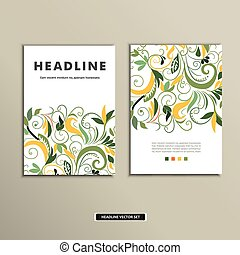 Book cover with flowers. Vector vintage design.