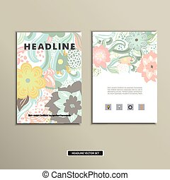 Book cover with flowers. Vector vintage design