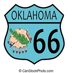 Route 66 Oklahoma sign and Flag - Route 66 traffic sign over...