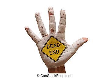 palm dead end - man hand palm painted caution danger symbol...