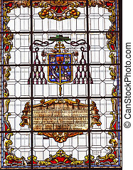 Stained Glass Coat of Arms Basilica Santa Iglesia Collegiata...