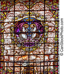 Stained Glass Angels Praying Basilica Santa Iglesia...