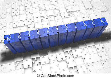 Marketplace - puzzle 3d render illustration with block...