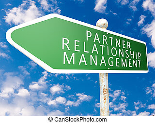 Partner Relationship Management - street sign illustration...