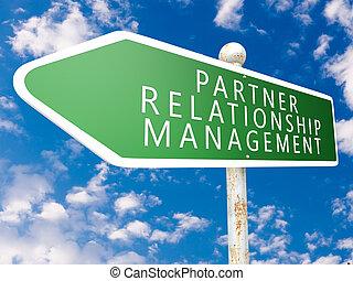 Partner Relationship Management - street sign illustration...