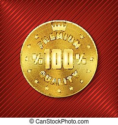 Quality badge - Golden round premium quality design...